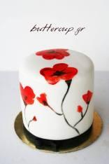 hand painted poppy cake