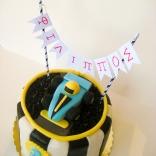 race car cake with banner closeup