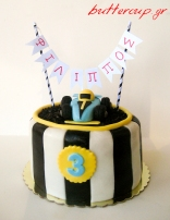 race car cake with banner
